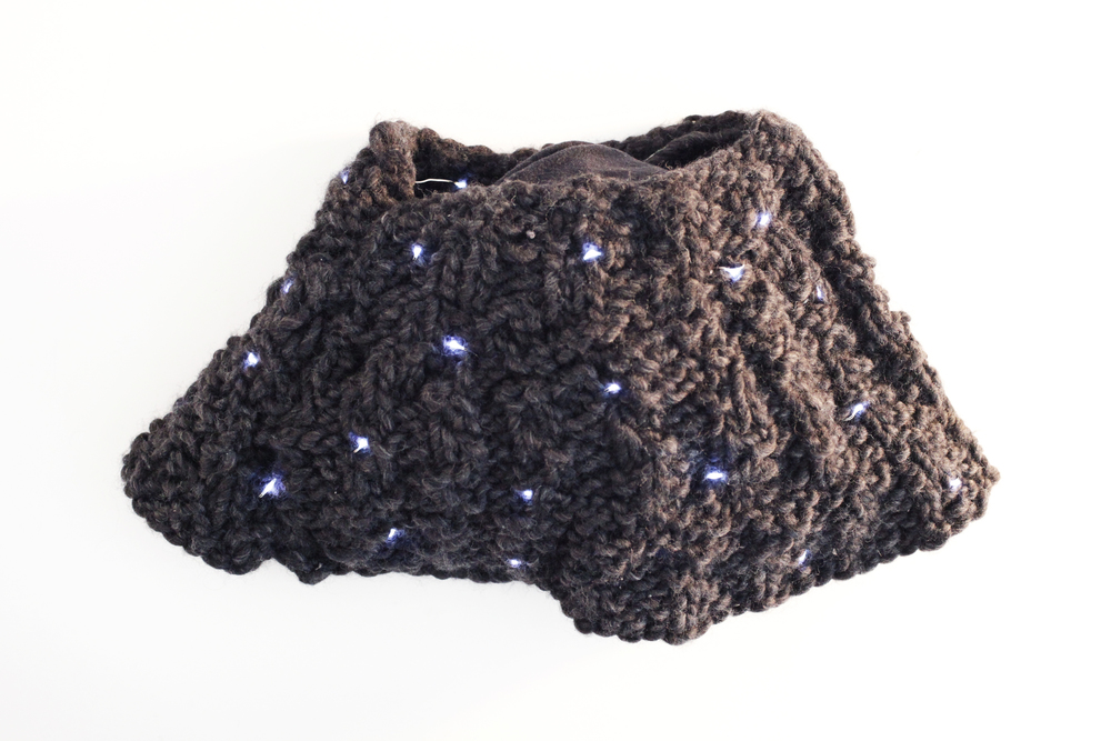 Light-up scarf made with LEDs and conductive fabrics & thread.