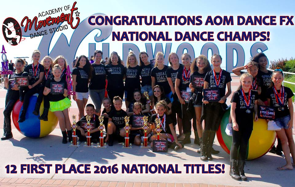 AOM Dance FX is the reigning 2015 and 2016 Large Group National Champs!