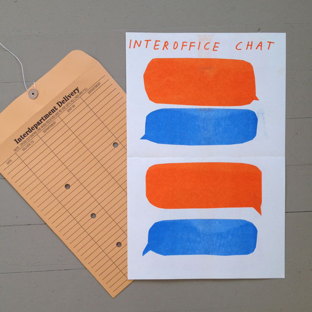 Tucker Nichols, Office Chat (2014), risograph print distributed at Facebook Headquarters during residency, 11 x 17 inches. Courtesy the artist and Facebook AIR.