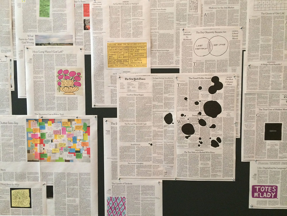 "Installation view: Tucker Nichols, Op-Ed drawings from The New York Times from 2005-2015 at ""Take this Hammer,"" Yerba Buena Center for the Arts, 2016. Courtesy the artist and Yerba Buena Center for the Arts."