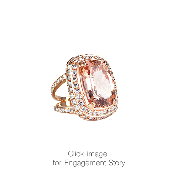 Morganite Diamond Double Halo Engagement Ring