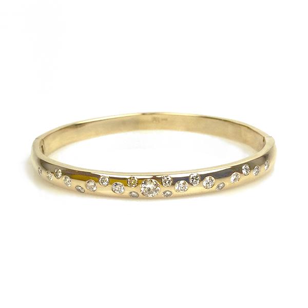 10K Starry Sky Diamond Hinged Bangle