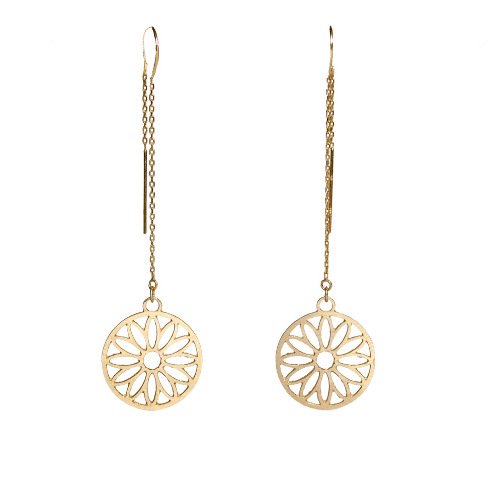 14K Sunflower Earrings