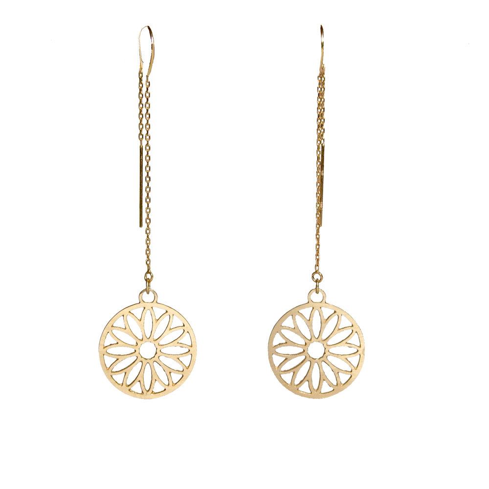14K Sunflower Earrings