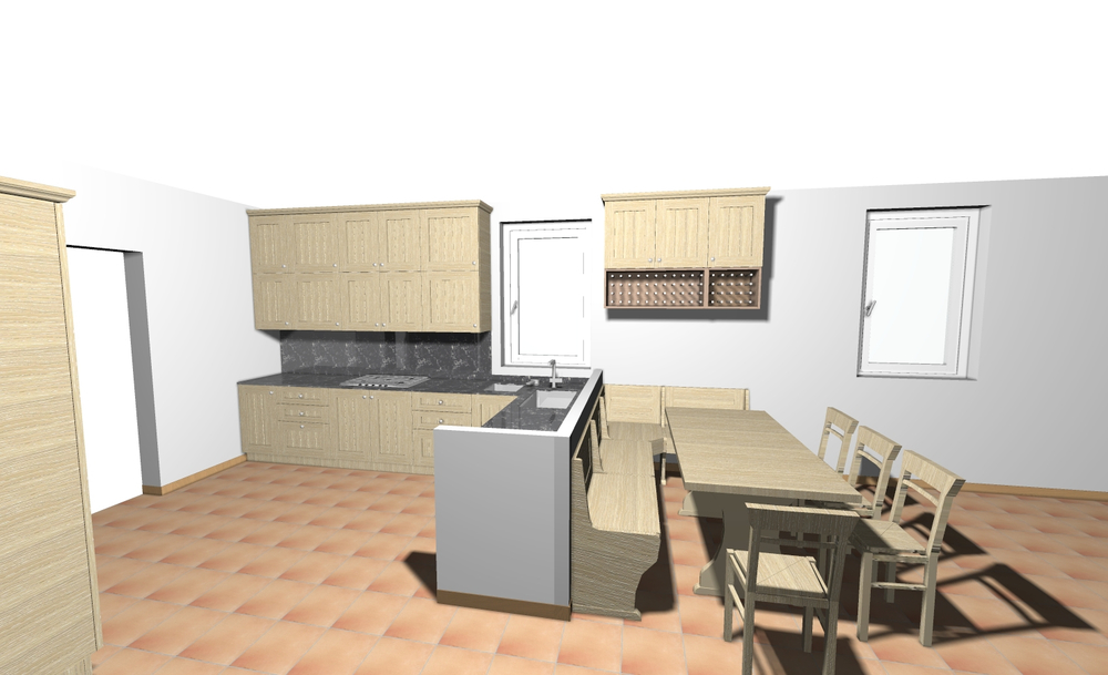 This is a rough rendering of the kitchen