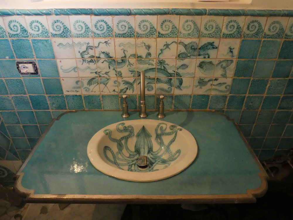 Hand painted tiles and sink - I hope the giant squid is not too intimidating...