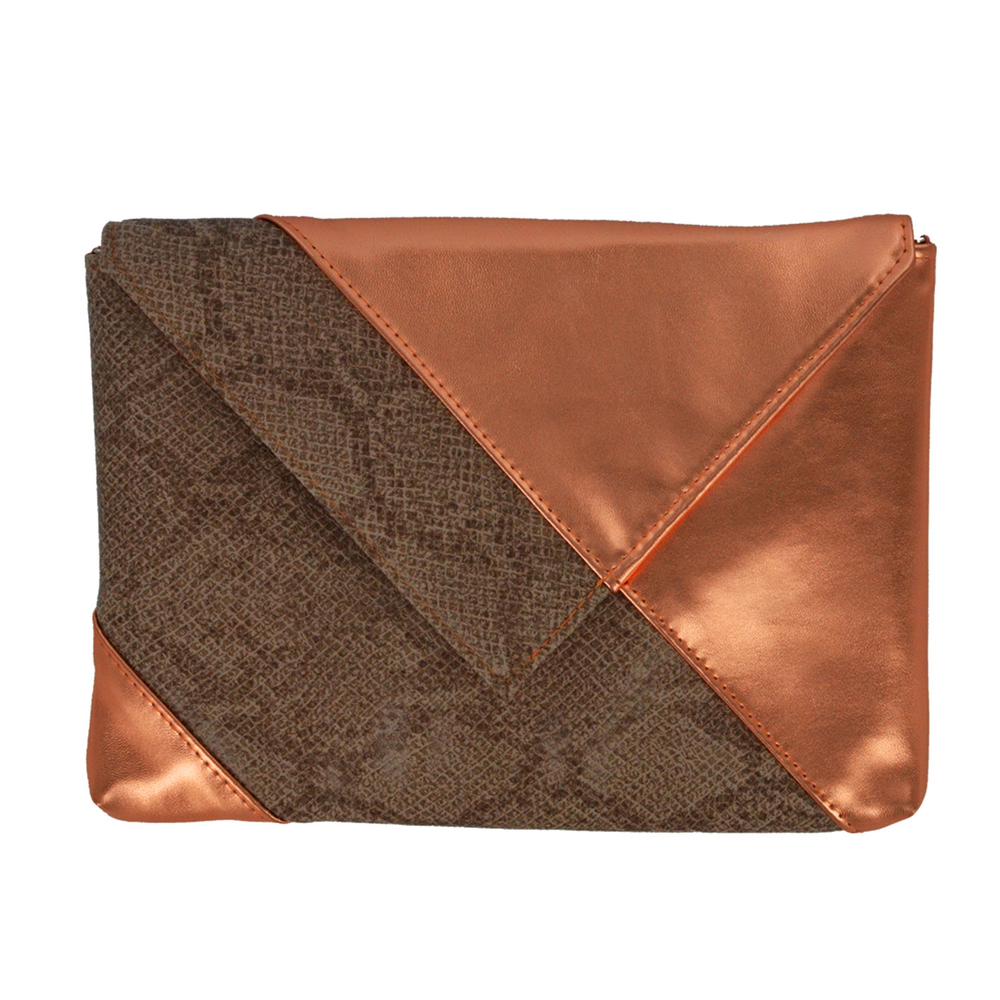 Rose Gold Snake Skin Clutch