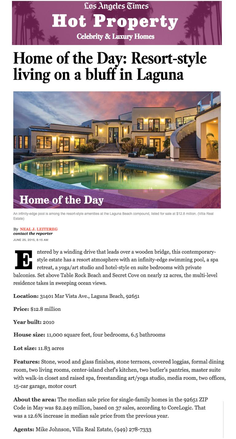 Villa Real Estate LA Times TO Media Co