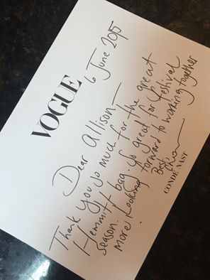 It's always a good day when you get a thank you note from Vogue!