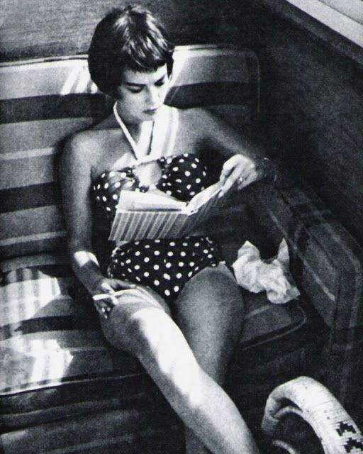 Natalie Wood reading, photographer unknown