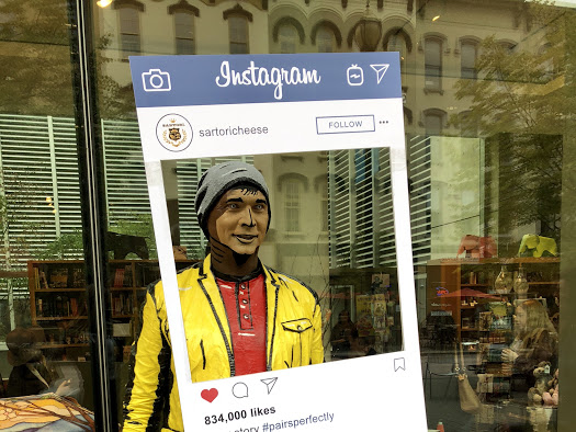 This moving experience ArtPrize artist, paused to pose with Sartori's Instagram filter.