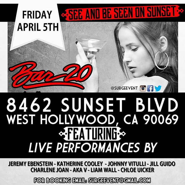 Come one, come all! I'm playing @bar20onsunset this Friday at 7:45!