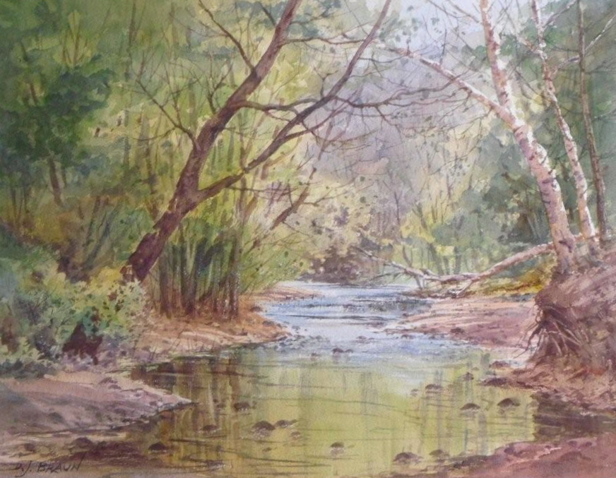 "David Braun,  Webster Park,            Watercolor. 9""x12""   Price $295  SOLD"