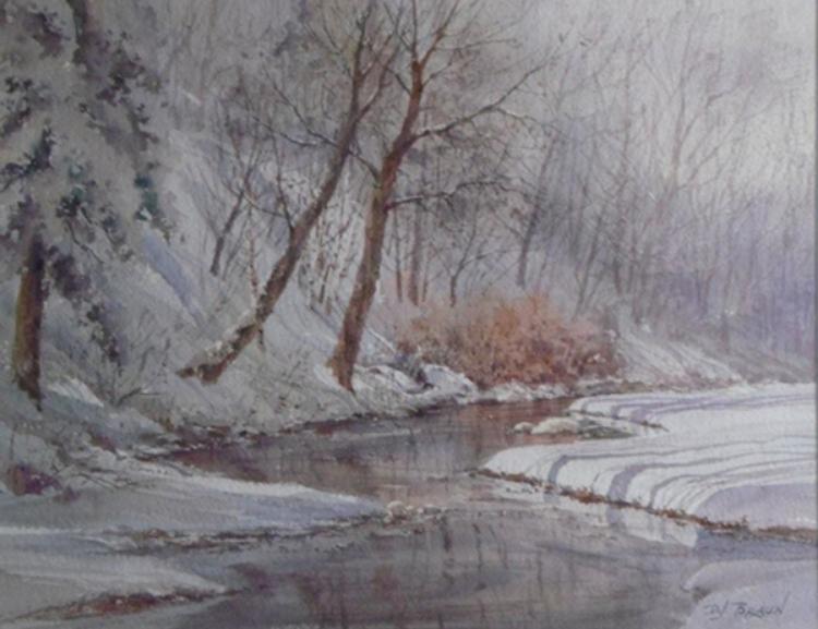 """David Braun, Snow Shadows Watercolor, 20""""x 24"""" Price $295"""
