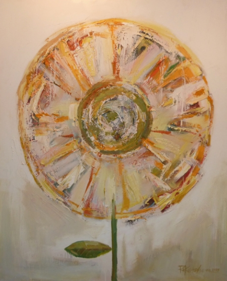 "Ron Ketchum, Globe Flower,        Acrylic on canvas, 55""x44"" Price $4200"
