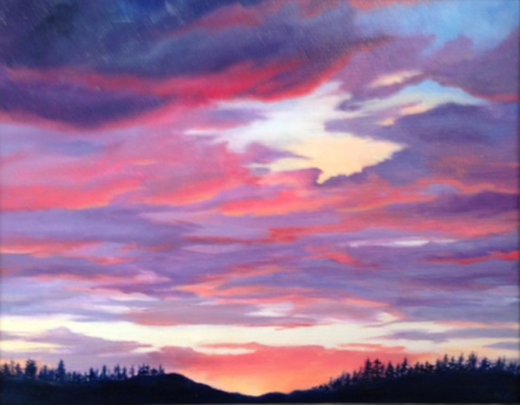 "Marcia Mundrick, Wild Fire Sunset,  Acrylic on canvas, 16""X 20"" Price $200"