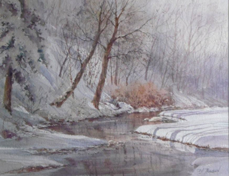 "David Braun, Snow Shadows             Watercolor, 20""x 24"" Price $295"