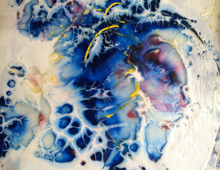 "Maureen McMahon,  Melody in Motion,  Encaustic, 16""x 20"" $600"