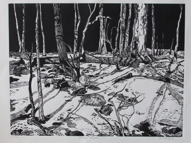 "Dennis Revitsky, ""Winter Night"", Linocut, $400"