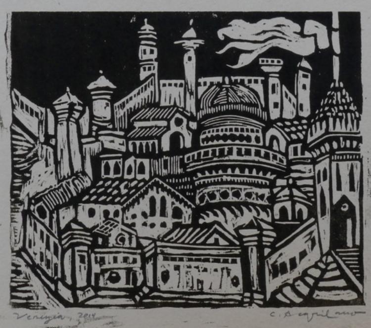 "Carol Acqualano, "" Venizia"", woodcut, $300."