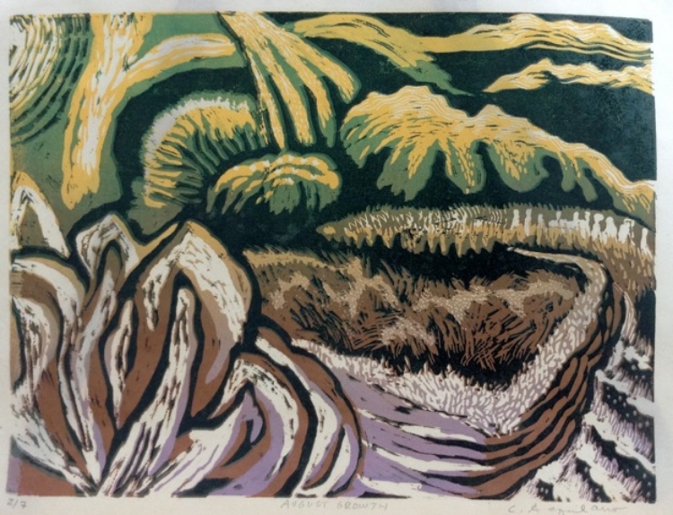 "Carol Acquilano, ""Linwood"" reduction woodcut,  $325."