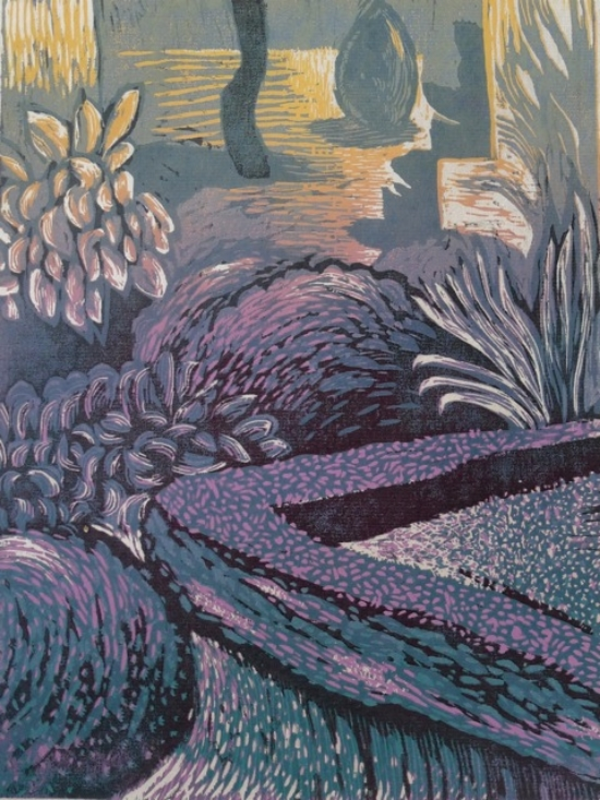 Carol Acquilano,  Linwood , reduction woodcut, $325