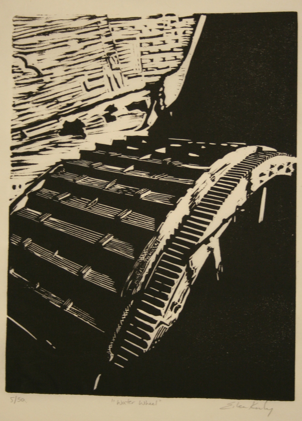 "Eileen Kinley,  ""Mill Wheel"", Block print, $85 sold"