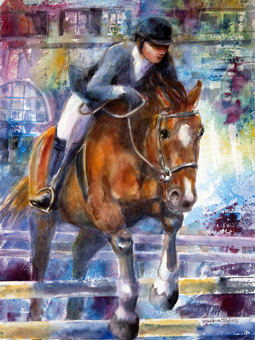 "Jane Grace Taylor,  State Fair Jumper , Watercolor, ""20""x 30""  $1230"