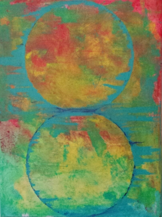 "Carlos Baher, ""Sliding Circles"", Acrylic on Canvas,      $135"