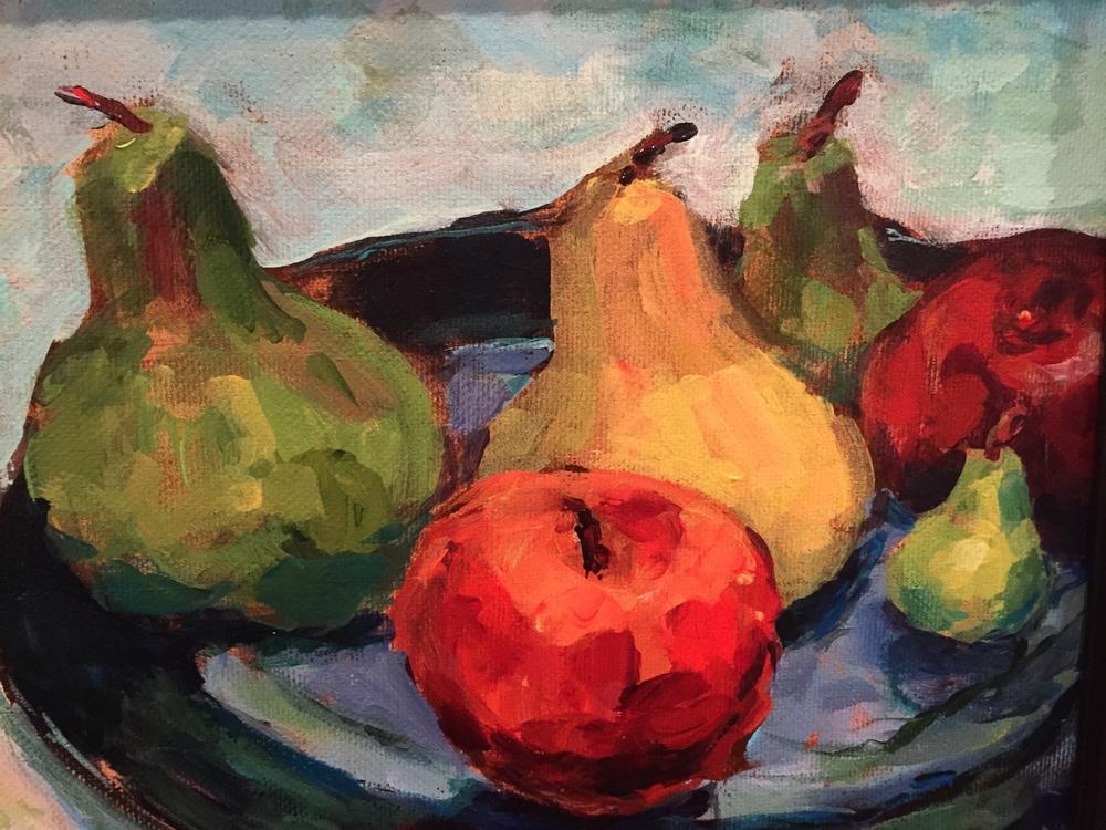 "Josephine Barrett, ""Still Life - Apples and Pears""     Acrylic, 8"" x 10"",  $350"