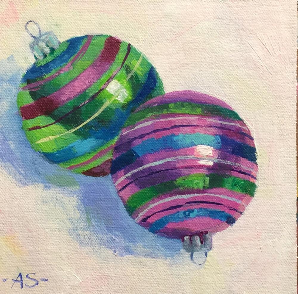 """Amy Stummer, """"Stripes"""", Acrylic, 6"""" x 6"""" $65"""