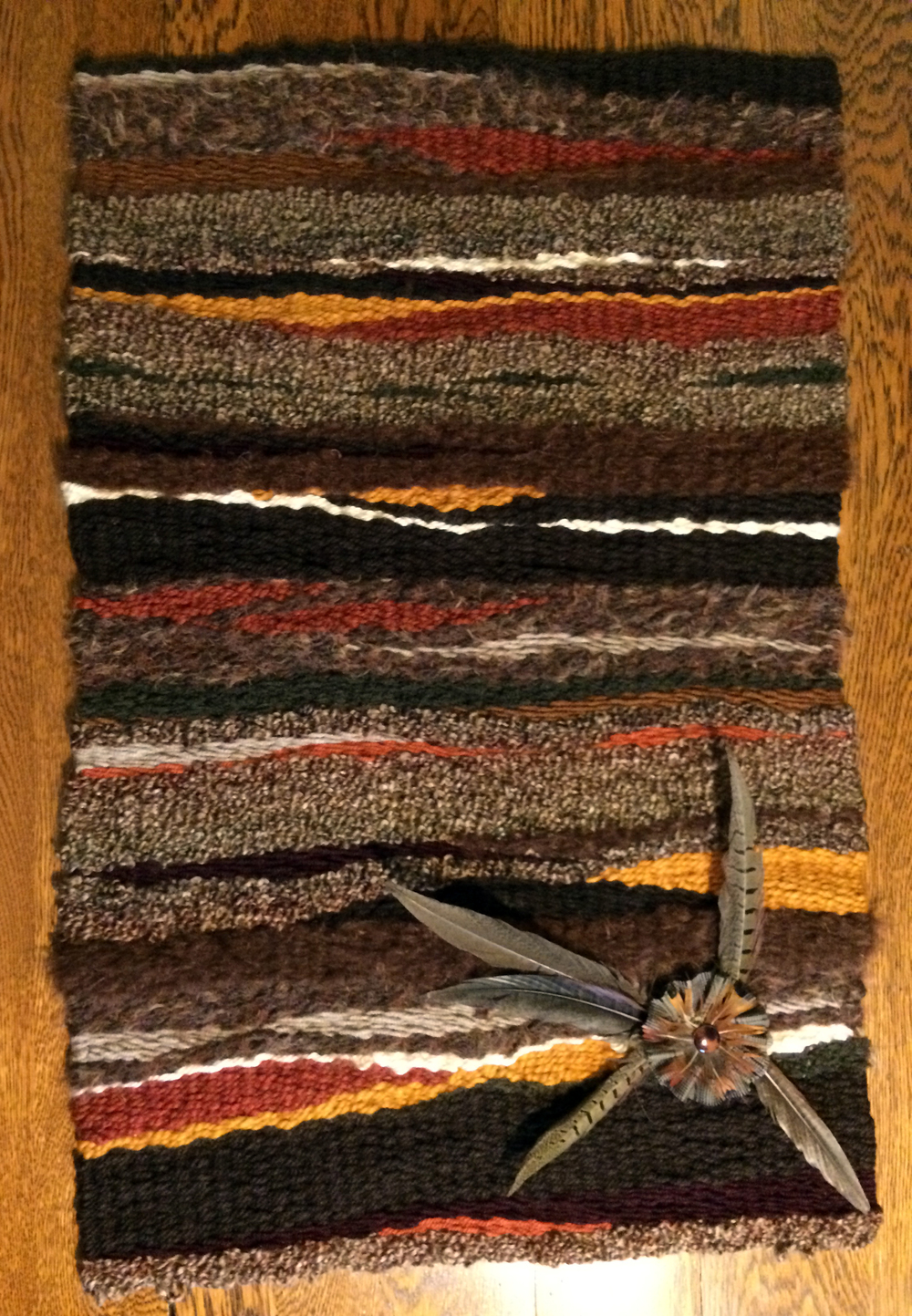 "Donna Gustina,  Pheasant Country, Fiber Weaving, 21""x33"", $250"