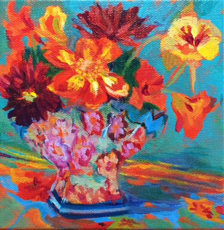 "Denise Heischman,  Summer's Last Bouquet,acrylic on canvas, 6""x 6"",$300, SOLD"