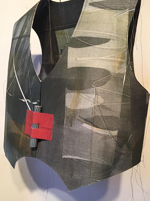 """Melissa Matson, """"Olive Simple Vest"""", Oil on Paper, Thread$625"""