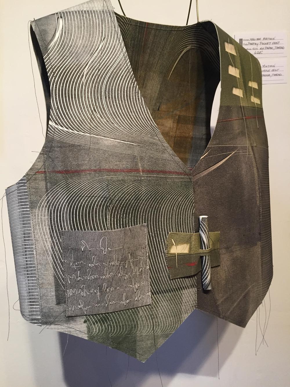 """Melissa Matson, """"Poetry Pocket Vest"""", Oil on Paper, Thread$625"""