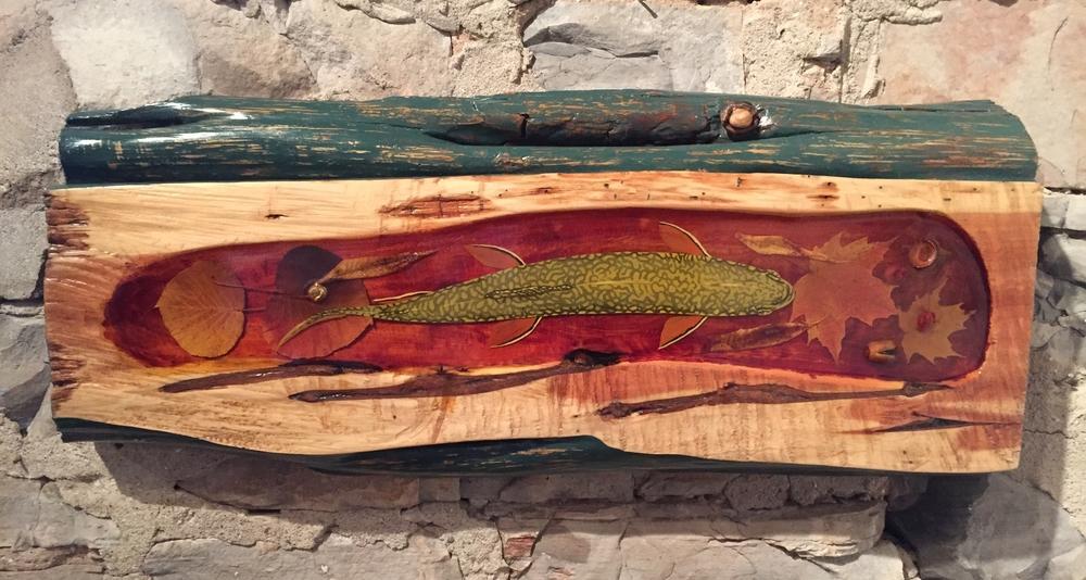 "Mark Verna, ""Brookie"", Wood/Resin/Acrylic $2400"