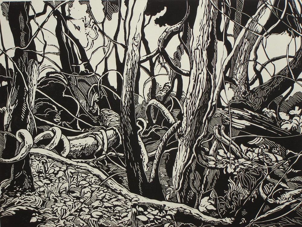 "Dennis Revitzky, ""Woodland Composition""          Linocut"