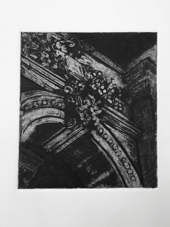 "Katherine Baca, ""Archway, PA""                  Collagraph,  6"" x 6"",  $150"