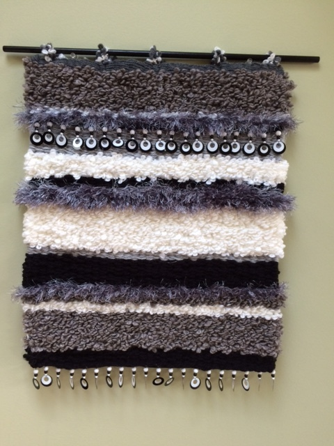 "Donna E. Gustina, ""Black Ice""                                     Peg Loom Weaving,  $250"
