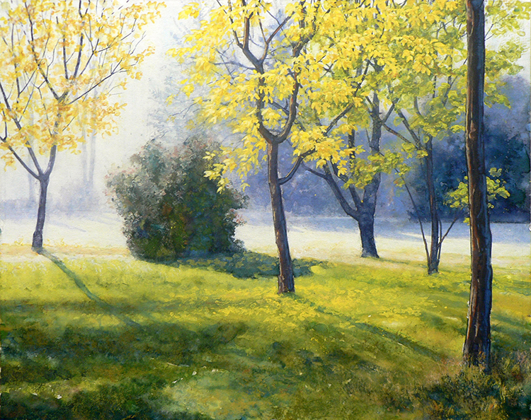 Robert Heischen, Morning Light, Gouache, $800.