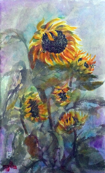 Jane Grace Taylor, Sunflowers and Bees ,Watercolor, $378.
