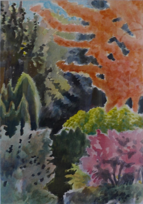 Carol Aquilano,  Backyard Garden , Watercolor, $450.