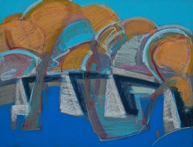 Jim Thomas, Bridge Over the Genesee, Oil Pastel, $400