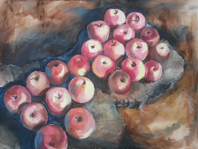Mary Marks, Windfalls, Acrylic, $750