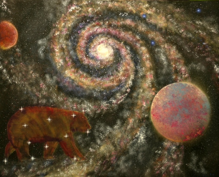 Bruce Zaretskey,  Hodijoni'ga ,  They Are of The Bear Clan , Acrylic spray, black light glow- in- the- dark paints, $600.