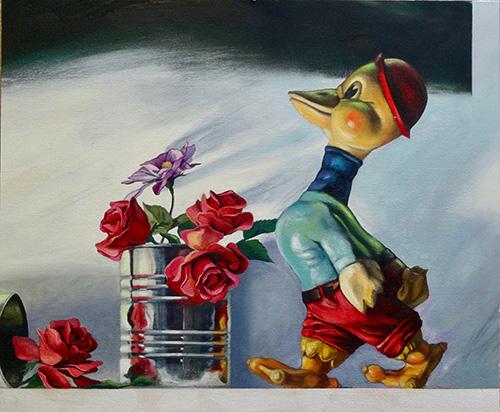 Robert Heischman,  Sleepwalking , Oil on canvas panel, $1800.