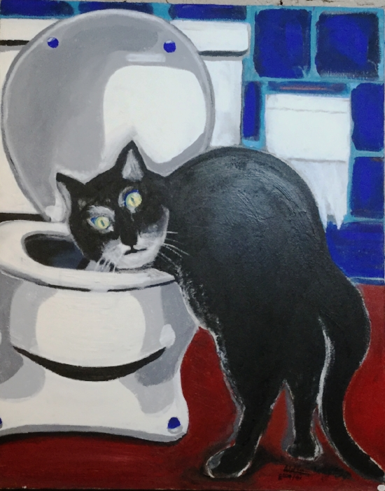 Billy Wayne Page,  Cat with the Wet Paws  Acrylic on canvas $2400