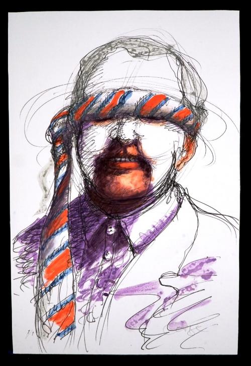Bob Conge,  The Corporate Vision , Monoprint, watercolor embellishment, 2400.