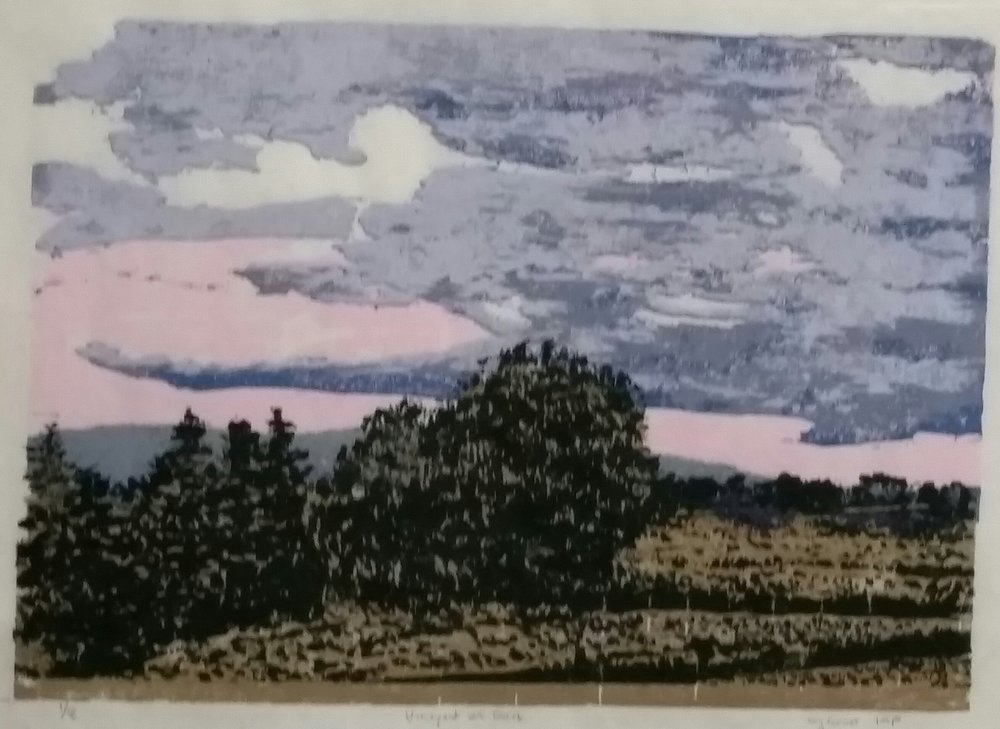 Wendy Forrest,  Vineyard at Dusk, Reduction woodcut, 350.