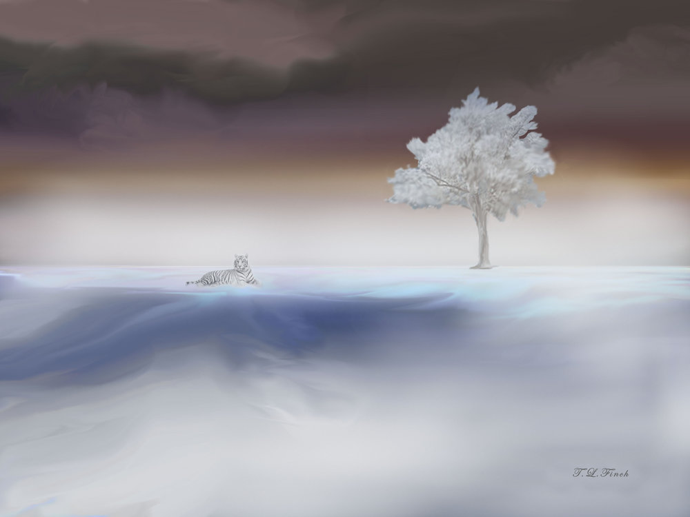 Terry Finch,  Snow Tiger, and Tree , DigitalPhotography,$399.95